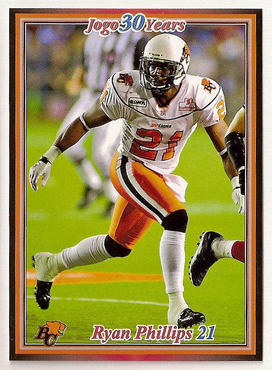 Ryan Phillips CFL card 2010 Jogo #120 BC Lions  Eastern Washington Eagles