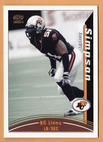 Barrin Simpson 2004 Pacific CFL card #11 BC Lions  Mississippi State Bulldogs