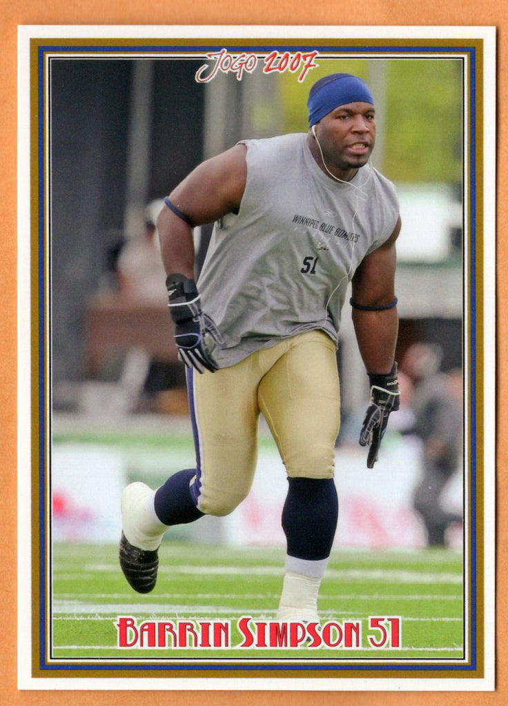 Barrin Simpson CFL card 2007 Jogo shortprint #6SP Winnipeg Blue Bombers  Mississippi State Bulldogs