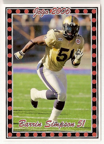 Barrin Simpson CFL card 2006 Pro Player Jogo #11 Winnipeg Blue Bombers  Mississippi State Bulldogs