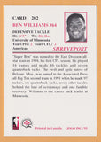Ben Williams CFL card 1995 Jogo #202 Shreveport Pirates  Minnesota Golden Gophers