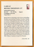 Bennie Thompson CFL card 1987 Jogo #43 Winnipeg Blue Bombers  Grambling Tigers