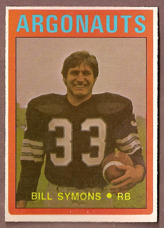 Bill Symons CFL card 1972 O-Pee-Chee #29 Toronto Argonauts  Colorado Buffaloes  Hall of Fame