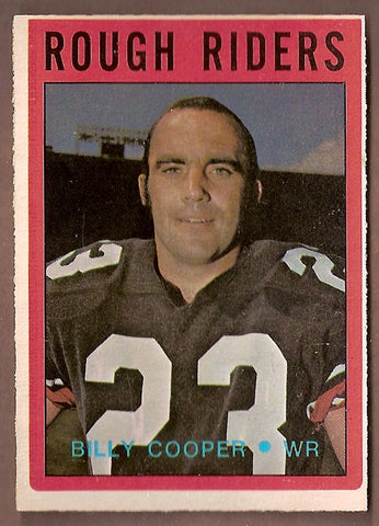 Billy Cooper CFL card 1972 O-Pee-Chee #75 Ottawa Rough Riders  Winnipeg Rods
