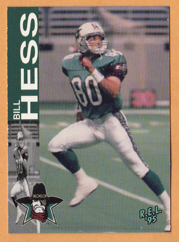 Billy Hess CFL card 1995 REL #195 San Antonio Texans  West Chester Golden Rams