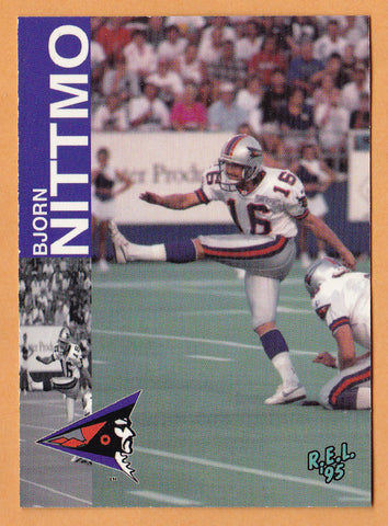 Bjorn Nittmo CFL card 1995 REL #111 Shreveport Pirates  Appalachian State Mountaineers