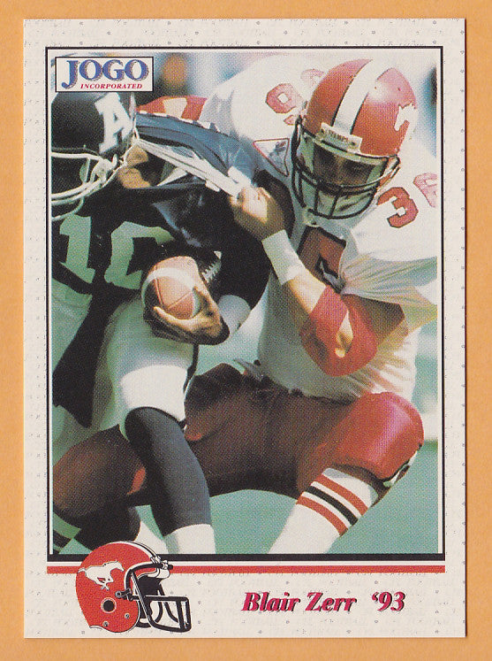 Blair Zerr CFL card 1993 Jogo #204 Calgary Stampeders  San Jose State Spartans