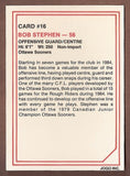 Bob Stephen CFL card 1985 Jogo #16 Ottawa Rough Riders  Ottawa Sooners