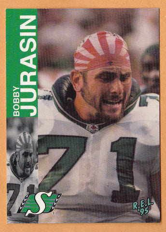 Bobby Jurasin CFL card 1995 REL #107 Saskatchewan Roughriders  Northern Michigan Wildcats  Hall of Fame