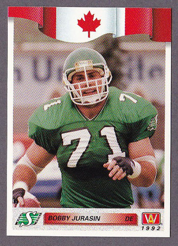 Bobby Jurasin CFL card 1992 All World #16 Saskatchewan Roughriders  Northern Michigan Huskies  Hall of Fame