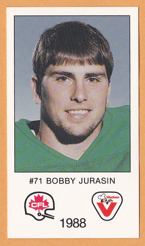 Bobby Jurasin CFL card 1988 Vachon Saskatchewan Roughriders  Northern Michigan Wildcats  Hall of Fame