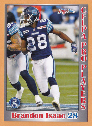 Brandon Isaac CFL card 2012 Jogo Pro Player #101 Toronto Argonauts  South Carolina Gamecocks