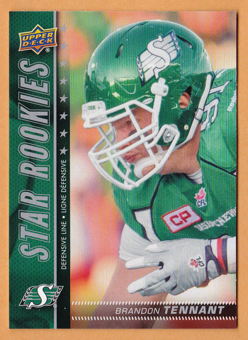 Brandon Tennant 2015 Upper Deck CFL Star Rookies card SP #197 Saskatchewan Roughriders  Laval Rouge et Or