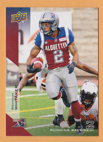 Brandon Whitaker 2014 Upper Deck CFL card #48 Montreal Alouettes  Baylor Bears