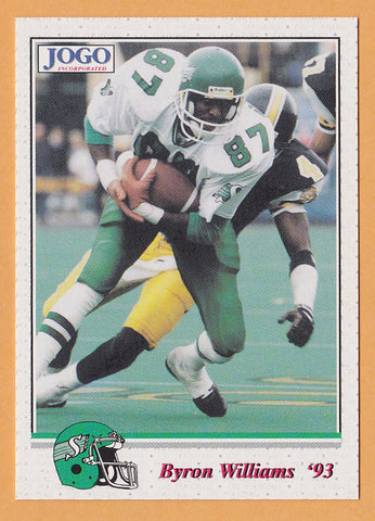 Byron Williams CFL card 1993 Jogo #60 Saskatchewan Roughriders  Texas Arlington Mavericks