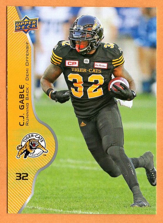 C.J. Gable 2017 Upper Deck CFL card #32 Hamilton Tiger-Cats  USC Trojans