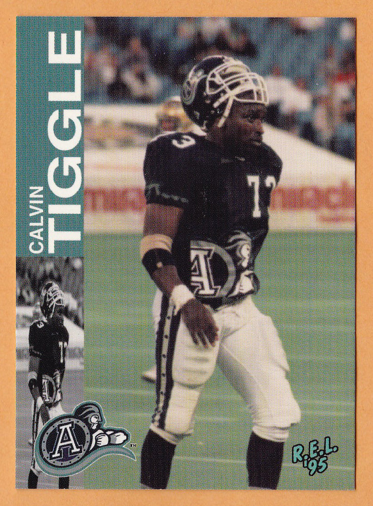 Calvin Tiggle CFL card 1995 REL #172 Toronto Argonauts  Georgia Tech Yellow Jackets