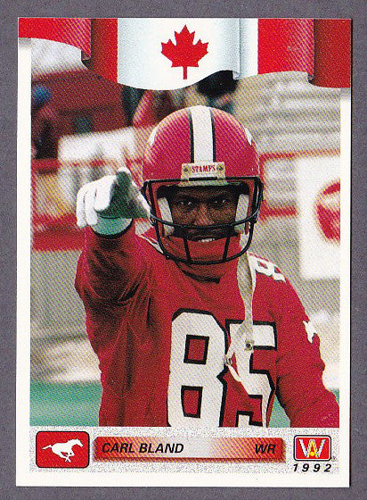 Carl Bland CFL card 1992 All World #74 Calgary Stampeders  Virginia Union Panthers
