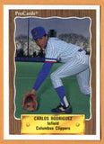 Carlos Rodriguez 1990 Columbus Clippers Minor League Baseball  Mexico City, Mexico  New York Yankees Boston Red Sox