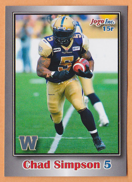 Chad Simpson CFL card 2012 Jogo rookie shortprint #15R Winnipeg Blue Bombers  Morgan State Bears