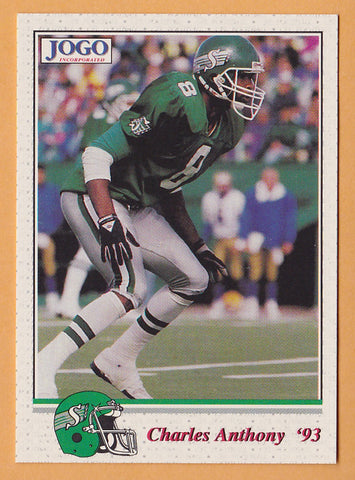 Charles Anthony CFL card 1993 Jogo #158 Saskatchewan Roughriders  UNLV Rebels