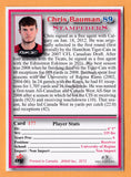 Chris Bauman CFL card 2012 Jogo Pro Player #177 Calgary Stampeders  Regina Rams