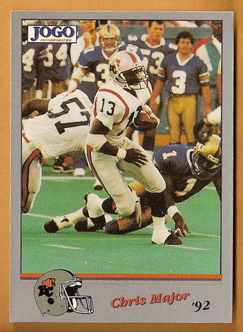 Chris Major CFL card 1992 Jogo #213 BC Lions  South Carolina Gamecocks