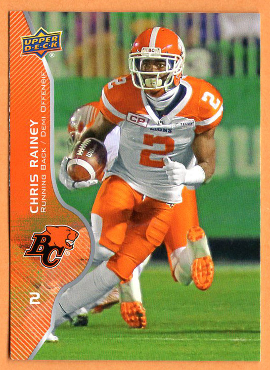 Chris Rainey 2017 Upper Deck CFL card #28 BC Lions  Florida Gators
