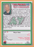 Cory Huclack CFL card 2012 Jogo #50 Saskatchewan Roughriders  Manitoba Bisons