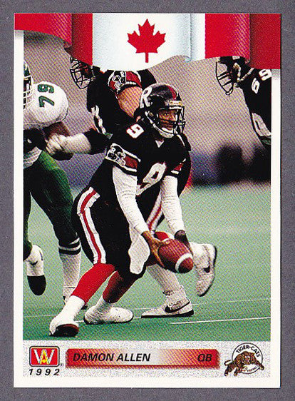 Damon Allen CFL card 1992 All World #38 Hamilton Tiger-Cats  Cal State Fullerton Titans  Hall of Fame