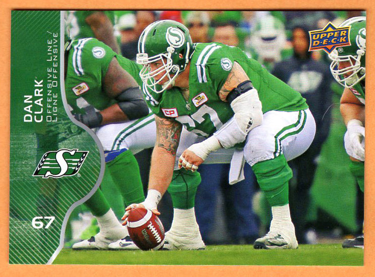 Dan Clark 2017 Upper Deck CFL card #44 Saskatchewan Roughriders  Regina Rams