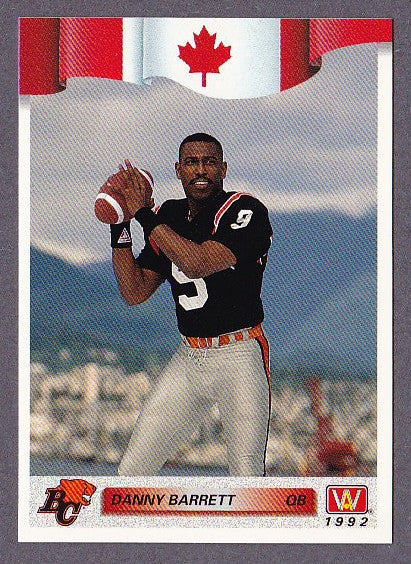 Danny Barrett CFL Card 1992 All World 167 BC Lions Cincinnati