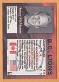 Danny McManus CFL card 1995 REL #146 BC Lions  Florida State Seminoles  Hall of Fame