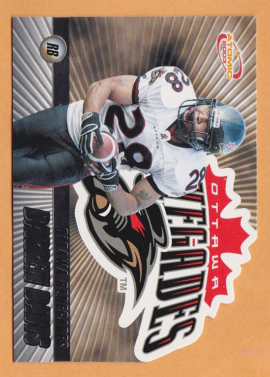 Darren Davis 2003 Pacific Atomic CFL card #58 Ottawa Renegades  Iowa State Cyclones