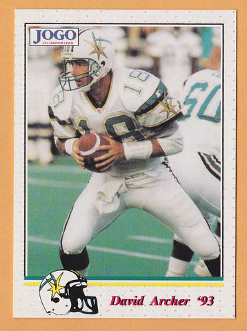 David Archer CFL card 1993 Jogo #109 Sacramento Gold Miners  Iowa State Cyclones