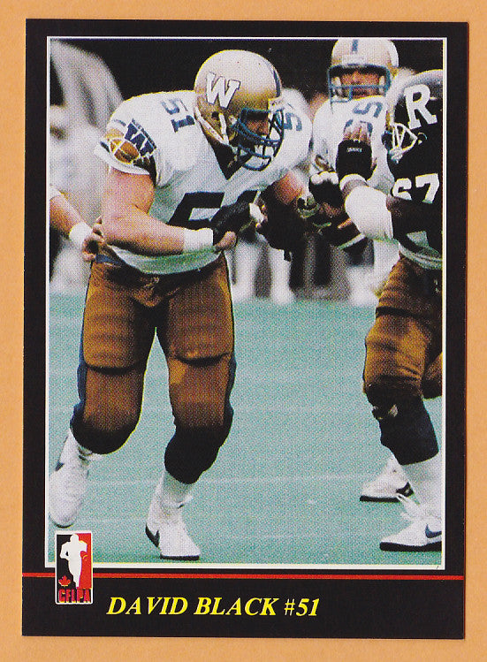 David Black CFL card 1986 Jogo #135 Winnipeg Blue Bombers  Wilfrid Laurier Golden Hawks