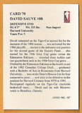 David Sauve CFL card 1987 Jogo #70 Hamilton Tiger-Cats  Harvard Crimson