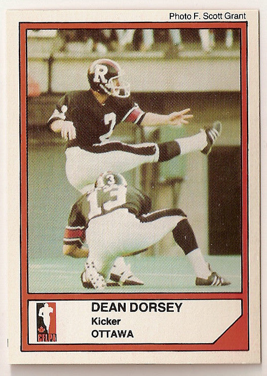 Dean Dorsey CFL card 1984 Jogo #24 Ottawa Rough Riders  Toronto Varsity Blues
