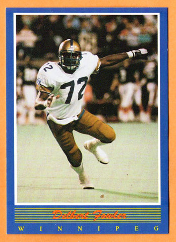 Delbert Fowler CFL card 1988 Jogo #98 Winnipeg Blue Bombers  West Virginia Mountaineers