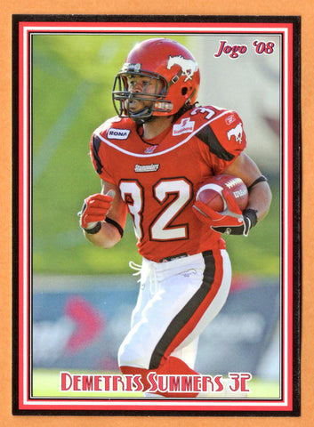 Demetris Summers CFL card 2008 Jogo rookie shortprint #5R Calgary Stampeders  South Carolina Gamecocks