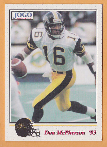 Don McPherson CFL card 1993 Jogo #45 Hamilton Tiger-Cats  Syracuse Orange