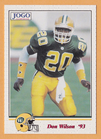 Don Wilson CFL card 1993 Jogo #75 Edmonton Eskimos  North Carolina State Wolfpack