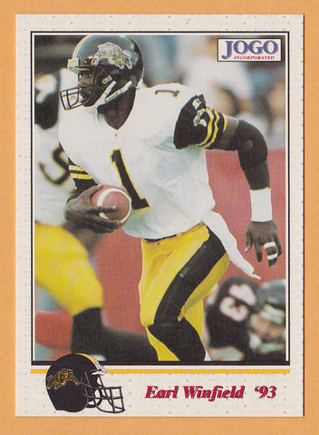 Earl Winfield CFL card 1993 Jogo #144 Hamilton Tiger-Cats  North Carolina Tar Heels  Hall of Fame