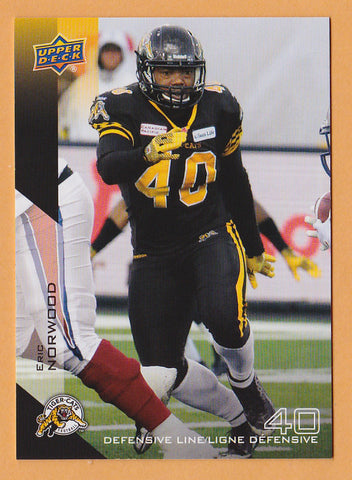 Eric Norwood 2014 Upper Deck CFL card SP #120 Hamilton Tiger-Cats  South Carolina Gamecocks