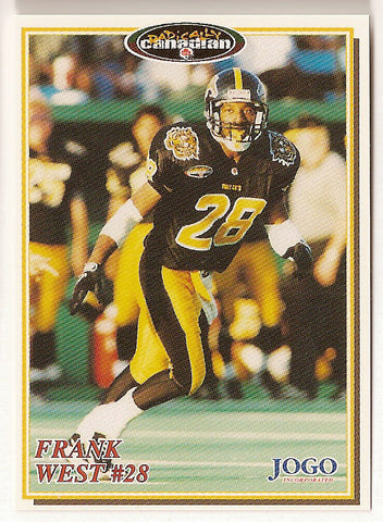 Frank West CFL card 1997 Jogo #144 Hamilton Tiger-Cats  Illinois State Redbirds