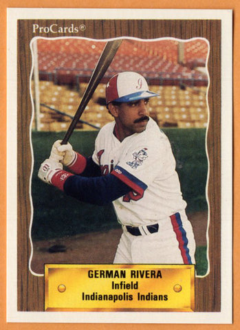 German Rivera 1990 Indianapolis Indians Minor League Baseball  Santurce, Puerto Rico  |  Los Angeles Dodgers Houston Astros