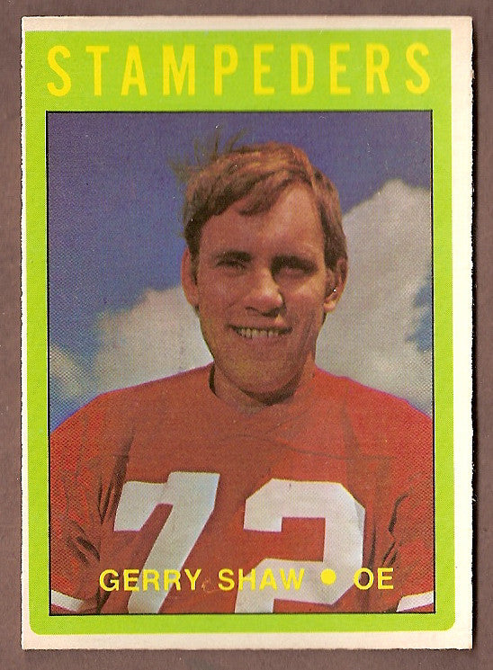 Gerry Shaw CFL card 1972 O-Pee-Chee #58 Calgary Stampeders  Washington State Huskies