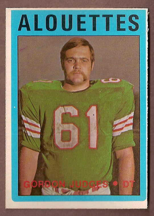 Gordon Judges CFL card 1972 O-Pee-Chee #22 Montreal Alouettes  Scarborough Rams
