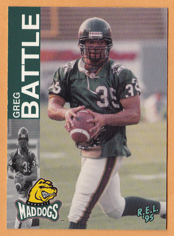Greg Battle CFL card 1995 REL #66 Memphis Mad Dogs  Arizona State Sun Devils  Hall of Fame