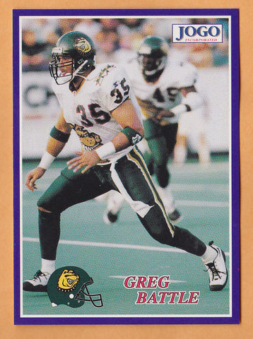 Greg Battle CFL card 1995 Jogo #139 Memphis Mad Dogs  Arizona State Sun Devils  Hall of Fame